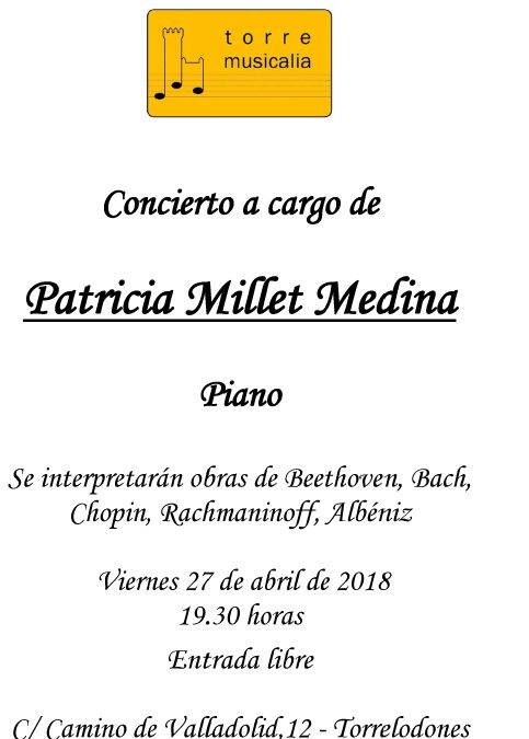 Concierto Patricia Millet / 27 de abril 2018